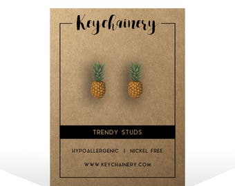 Pineapple Stud Earrings - Food Earrings - Fruit Studs - Nickel-free Stud Earrings - Vegan Studs