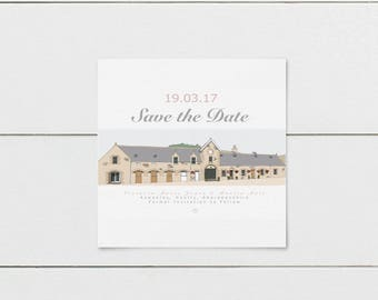 Printable Wedding Venue Save the Date Cards, Digital Save The Date Cards, Wedding Venue illustration, Save the Date