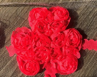 Hot Pink 2.5 in. Shabby Chiffon Shamrock Rosette for Headbands or DIY Projects 1 piece or 2 pieces or 5 pieces