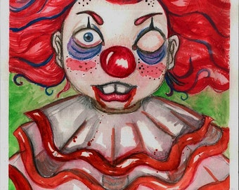 Sad Clown Print from my original drawing
