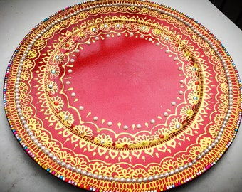 Decorative Candle Plates in Henna Design. Hand-Painted with Gem Stones and Glitter, Decorative Plates, Gift for Her, Acrylic Plates