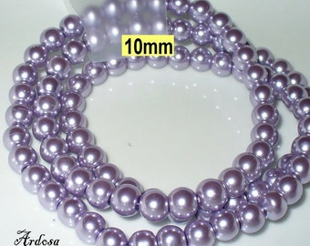 1 strand 82 cm = 86 glass beads lilac light(810.17.1)