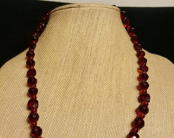 Red faceted glass beaded necklace