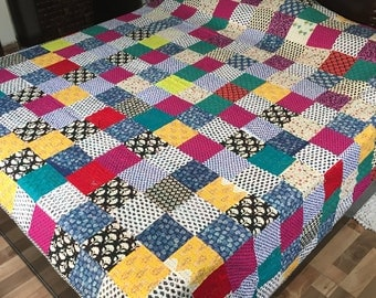 homemade king size quilt 100 cotton reversible turquoise tone kantha quilt printed on reverse side