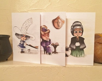 3 Witch Postcard, Fantasy Christmas card, Cute Greeting card