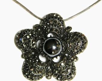 Weiss Hematite Pendant Necklace Black Enamel - Weiss Black Enamel Hematite Pendant Sterling Serpentine Chain
