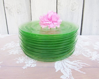 "Green Depression Glass Plates, Green Block Optic Plates, Green Glass Dessert Plates, Anchor Hocking 8 1/4"" Salad Plates, set of 8 or 6"