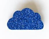 Broche nuage à paillettes, doré, argent, noir, cuivre ou bleu