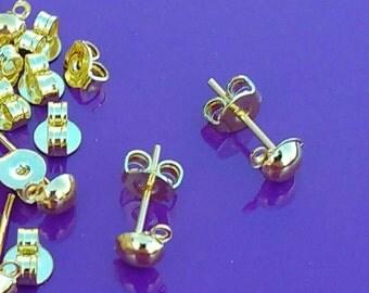 10/20/50x earring posts gold half ball and loop blanks findings backs pierced dangle plated drop studs diy jewellery making jewelry UK
