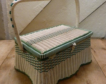 1940's Sewing Basket/Old Sewing Basket/Retro Sewing Basket/Sewing Box/Old Sewing Box (Stock #6539/A)
