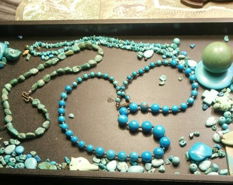 Vintage lot of Turquoise jewelry beads necklaces and loose bits. All natural good quality pieces!