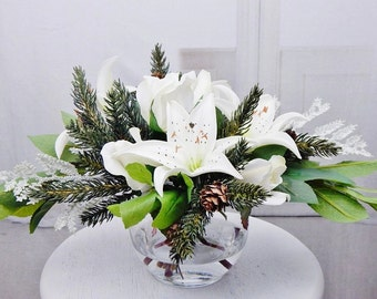 White, silk, lily/lilies, pine, faux/acrylic/illusion water, Real Touch flowers, floral arrangement, centerpiece, winter, Christmas, decor