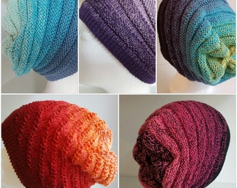 Caps Beebles designer yarn gradient knit lace crochet handmade
