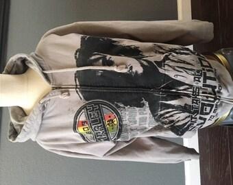 BOB MARLEY HOODIE gray sweatshirt with zipper jacket coat Reggae ska Legend Zion Rootswear size Large L Jamaica red green yellow