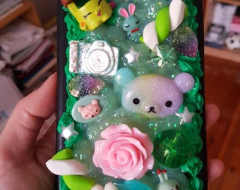 Green and black Kawaii iPhone 6 plus decoden phone case