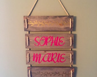 Personalized Hanging Name Sign, Wall Sign, Name Sign, Wood Sign, Boy's Name Sign, Girl's Name Sign