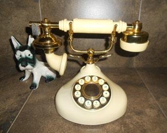 Vintage French Style Beige & Gold Radio Shack Model 43-370 Push Button Telephone
