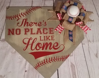 Baseball Door Hanger, Chicago Cubs Home Plate Sign