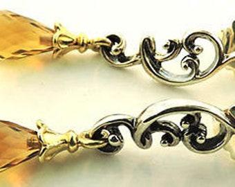 Ann King Sterling Silver 18k YG Smoky Quartz Briolette Earrings