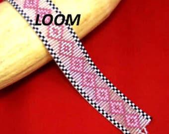 Beadbrickie PINK DIAMONDS Loom or Square Stitch Bracelet Pattern