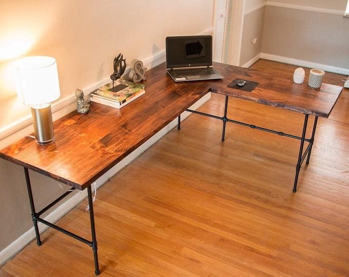 industrial reclaimed desk wood desk mid century desk