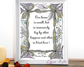 "Digital print art ""OISEAU SUR CADRE"" , instant download, letter size and A4, En and Fr, Art print, Zen illustration  with inspiring quote"