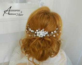 Bridal Comb with pearl and transparent beads, wedding hair comb