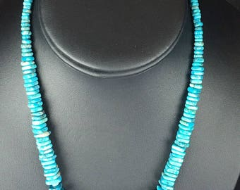 Native Blue Turquoise Last One, Square Bead Graduated Sterling Silver 17""