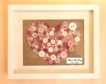 Handmade button heart picture frame, Personalised ,Valentines Day Gift, Wedding/Engagement Gift