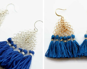 Tassel earrings / Fringe earrings / triangle bohemian earrings / boho blue, silver, gold dangle earrings / wire crochet jewelry