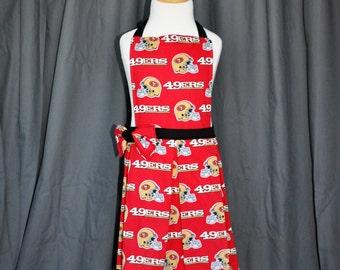 Girls apron // 49ers apron // childrens apron // football apron // kids apron