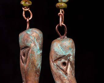 Aged tribal clay and copper earrings