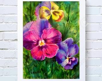 Digital Pansies Print Pansy Wall Decor Living Room Printable Flowers Print Floral Wall Art Printable Artwork Botanical Art Print Watercolor
