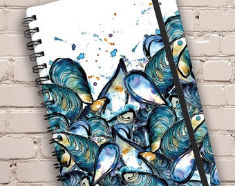 A5 Mussels Print Hardback Spiral Bound Notebook