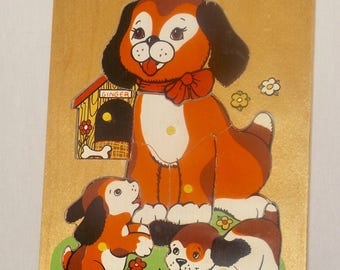 Fisher Price Dog and Puppies wood puzzle,1970s,childrens puzzle,vintage wood puzzle,kids room decor,puppie puzzle,