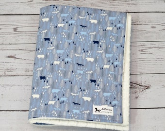 Personalized baby blanket - Woodland minky blanket - Woodland nursery - fox blanket - bear blanket - minky baby blanket - woodland baby