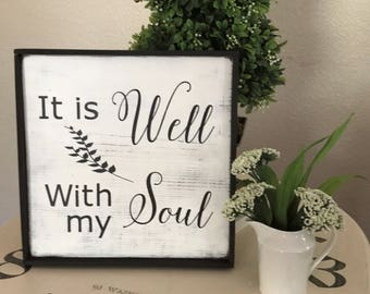 Wood Sign-Faith Sign-Hymn-Christian Sign- It Is Well With My Soul