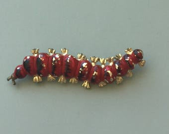 Adorable Vintage signed Gerry's Caterpillar Brooch .
