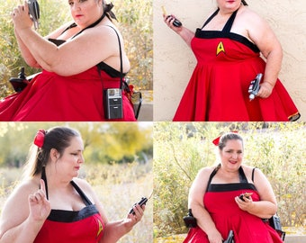 Pinup Girl Star Trek inspired Rockabilly Dress Includes pettiskirt.  Choose Red, Blue or Yellow and choose your insignia