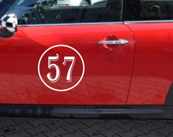 """12"""" Classic Circle Rally Number side car Door trunk Racing Sticker Vinyl Custom Words Textl Personalized Graphics design Lettering drift RS"""