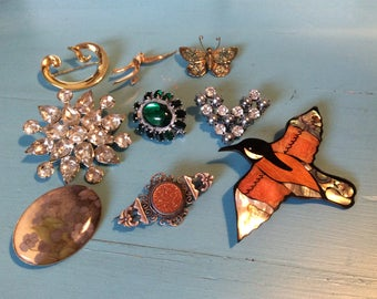 SALE!!! collection brooches/vintage/jewelery/birds/stone/pearl/glass