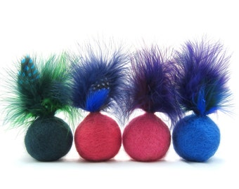 Felted wool feather ball cat toys