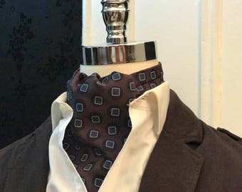 Doctor Who Tenth Doctor Inspired Cravat // Tenth Doctor Who Inspired Cravat // Brown Pinstripe Cravat // Reversible Ascot