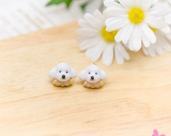 Lovely Cute Hand Painting Enamel Puddle Rabbit Earrings (With Luxury Gift Box from Boutique)