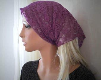 Mulberry Purple Stretch Lace Kerchief Style Chapel Veil Trad Catholic