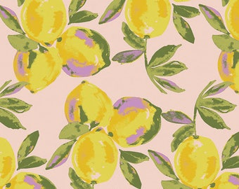 Yuma Lemons Glare SGE-24453 Sage Bari J Cotton Fabric Girls Dress Floral Fabric Foliage Lemon Purple Yellow Green Girls Dress Handmade Quilt