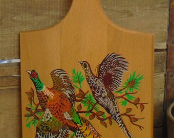 Vintage Wooden Country Chopping Board, Cutting Board Painted Pheasant Bird, Cocktail Bar Board, Farmhouse Decor, Bird Watcher, Nature Lover