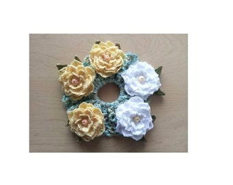 Cute Ponytail Holder Scrunchie Handmade Crochet for party, wedding, gift Rose