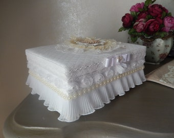 romantic ivory and white jewelry box dressed with lace shabby chic style
