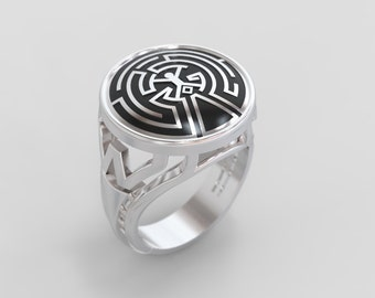 westworld maze ring, boyfriend gift, anniversary gift, sci fi ring, geek ring, silver signet ring, maze signet ring, father day gift